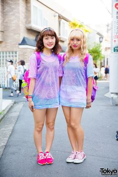 Harajuku Girls in Tie Dye Shirts w/ Disney Princess Bags & WEGO Items