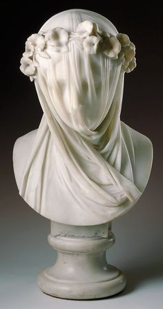 Raffaelo Monti Italian, Veiled Lady 1860. The transparent covering over my face juxtaposes life and death; the  veil is a representation of new life and beauty, while the shroud is a  symbol of fading beauty and death.
