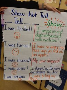 The first graders are learning to show their emotions in their stories rather than tell them.