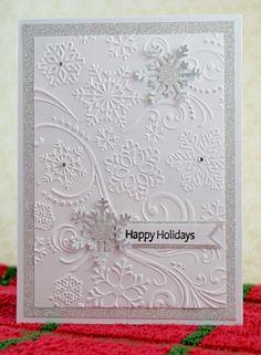 by Kim Collins, Happy Holidays - Darice Snowflakes embossing folder, Martha Stewart snowflake punch