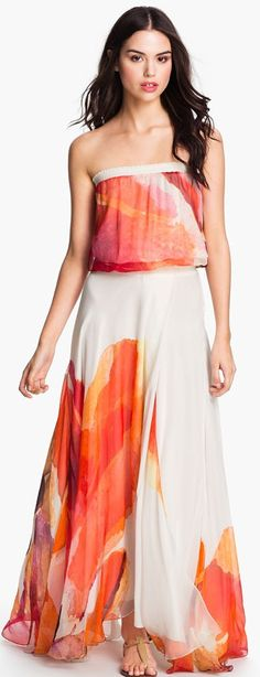 Haute Hippie Abstract Floral Chiffon Maxi Dress ♥✤ | Keep the Glamour | BeStayBeautiful