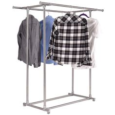 Portable And Expandable Garment Rack In Black Chrome 18 Months Alluring Product Image For Dual Bar Adjustable Garment Rack 2 Out Of 2