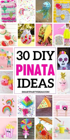 Make your next party a smashing success with one of these adorable and easy to make DIY Pinatas. With a few simple supplies you can build a pinata to fit any party theme. Girl Birthday Themes, Birthday Parties, Birthday Cupcakes, Birthday Decorations, Birthday Ideas, Rainbow Pinata, Diy Party, Party Ideas, Party Shop