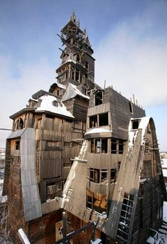 The Sutyagin House was the 13-story residence of Nikolai Petrovich Sutyagin and reportedly the world's tallest wooden house. Constructed without formal plans or a building permit, the structure deteriorated while Mr. Sutyagin spent a few years in prison for racketeering. In 2008, it was condemned as a fire hazard and ordered to be demolished. The tower was pulled down, and the remainder was dismantled manually. The remaining four-storey structure burned to the ground on May 6, 2012.