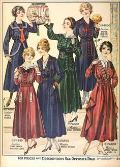 dresses for sale, found in the 1916 Sears  Roebuck catalog bird and birdcage not included