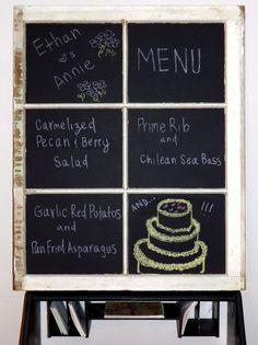 Vintage Window ✿ Wedding Menu Board created by Quirks By Annie on Etsy www.etsy.com/shop/QuirksByAnnie