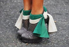 Casual Grey Platform Heels With Green and White Accent