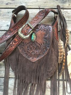 Western Floral Saddle Bag by Buffalo Girl turquoise, stunningly hand carved leather and suede.
