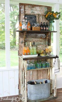 Old door and salvage = beverage station for the covered deck