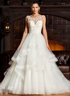 Ball-Gown Scoop Neck Chapel Train Tulle Wedding Dress With Cascading Ruffles (002067241)