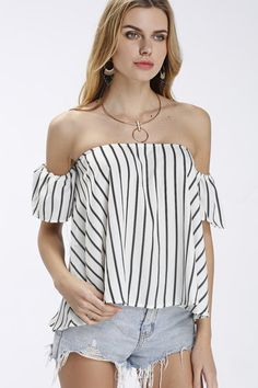Here is the fashion shirt for you. Featuring stripe pattern, off shoulder. Wear this day and night is ok. Perfect with black leggings or casual shorts.