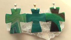 Hand Carved Green Agate Crosses With Choice of Bails and Chains Pendants/Necklaces by MagicalUniverse on Etsy