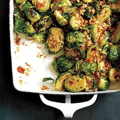Brussels Sprouts Gratin. I found this in Cooking Light back in 2010 and it is my go to recipe for brussels now.