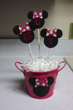 Minnie Mouse Birthday Party -Table Decoration- Pink polka dots- Pink Glitter- Set of 3 with Base. $15.00, via Etsy.