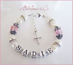 """I looked up grace name"""" came up with sadie. Baby Dedication, Baby Pearls, Baptism Party, Baby Bracelet, Christening Gowns, Real Pearls, Unique Gifts, Handmade Gifts, Birthstone Charms"""