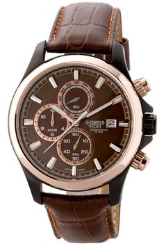 Brown Leather Band Chronograph Dress Watch.
