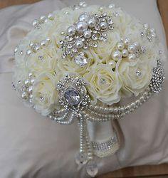 Hot Pink Wedding Bouquets broach | BROOCH PEARL DIAMANTE ARTIFICIAL WEDDING BRIDE BOUQUET IVORY ROSES ...