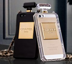 As seen on countless celebrities, the chanel perfume bottle phone case comes in black or clear! In the notes section write what color you want or you will get clear by default.