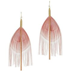Serefina Women's Feather Earrings (€71) ❤ liked on Polyvore featuring jewelry, earrings, accessories, 14k earrings, feather chain earrings, chain fringe earrings, 14 karat gold jewelry and fringe earrings