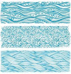 Vintage set of banners with ethnic waves vector by transia on VectorStock® Wave Drawing, Wave Illustration, Wave Art, Wave Design, Zen Art, Zentangle Patterns, Dot Painting, Mandala Art, Doodle Art