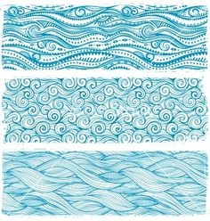 Vintage set of banners with ethnic waves vector by transia on VectorStock®