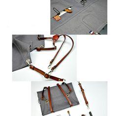 Gray Denim Bib Apron - Little Tailor Studio Leather Tool Belt, Leather Tooling, Bib Apron, Aprons, Grey Fabric, Canvas Leather, Work Wear, Denim, Gray