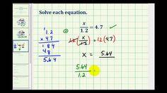 Solving One Step Equations Involving Decimals