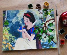 Original Painting Disney Snow White Watercolour Art Wall Art Home Decor Gift Snow White and the Seve Arches Watercolor Paper, Watercolor Art, Original Snow White, Original Disney Princesses, Winsor And Newton Watercolor, Disney Animated Movies, Boy Art, Disney Animation, Wall Art Prints