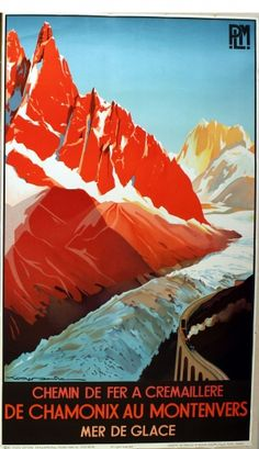 Chamonix au Montenvers, 1982 - original vintage poster by Roger Soubie (a Studio Editions re-issue from the 1930s), listed on AntikBar.co.uk