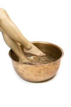 """Enhance the look of your spa with this hammered copper pedicure bowl that is not only beautiful, but functional for overall health and wellness. Enrich your treatments with this balanced, lightweight copper design. Weighs approx: 7lbs (3.20 kg) Approx. 18.375"""" (46.5 cm) Wide Top Rim, 13.75"""" (35 cm) Wide Base X 7.5"""" (19 cm) Depth. #spa #spadesign #spadecor #pedicure #pedicurebowls #nails #nailart #nailsalon"""