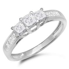 This lovely diamond engagement bridal ring feature ct white diamonds in prong setting. All diamonds are sparkling and natural. All our products with FREE gift box and Satisfaction guara. Vintage Diamond Rings, Diamond Wedding Rings, Bridal Rings, 3 Stone Engagement Rings, Engagement Sets, Engagement Photos, Enhancer Wedding Band, Vintage Wedding Jewelry, Princess Cut Diamonds