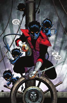 Nightcrawler and the Bamfs by Ed Mcguiness (Nightcrawler, Gambit and Rouge- my favorite x-men)