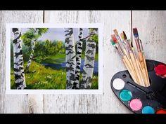 Видео урок Рисуем пейзаж с березами Гуашью #Dari Art - YouTube