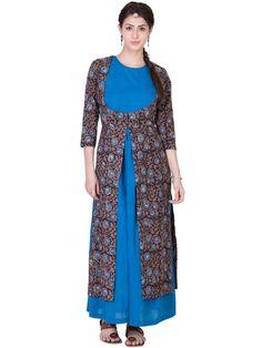 Blue Brown Block Printed Cotton Wrap with a Mangalgiri Dress