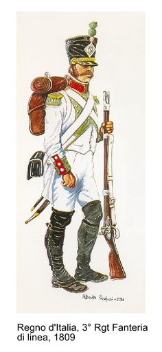 Kingdom of Italy, Line Infantry Regiment, Voltigeur, 1809 Kingdom Of Naples, Kingdom Of Italy, Italian Army, Napoleonic Wars, Nature Photos, Medieval, Empire, Military, History