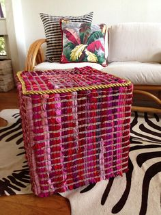 Thrift Store Revamp - Rug Covered Stool DIY - Jennifer Perkins