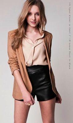 black leather shorts.