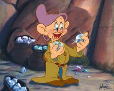 Dopey's Dilema by Gerry Weintz Walt Disney, Disney Love, Disney Magic, Disney Animation, Dopey Dwarf, Snow White 7 Dwarfs, Dilema, Disney Aesthetic, Seven Dwarfs