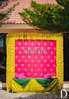 Let's jump to the list of off-beat Mehndi ceremony decoration ideas, that will lit up your decor in the best way, unique mehndi decor ideas Indian Wedding Theme, Desi Wedding Decor, Wedding Hall Decorations, Luxury Wedding Decor, Marriage Decoration, Wedding Mandap, Backdrop Decorations, Wedding Ideas, Wedding Receptions
