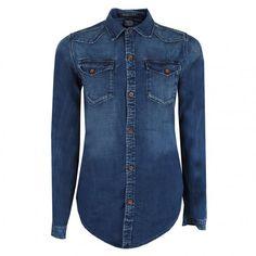 Maison Scotch Womens Blue Fitted Denim Western Shirt - Maison Scotch from Psyche UK