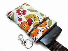 Fabric iPhone 6 6s 6 plus Pouch Cell phone case for by KapomCrafts