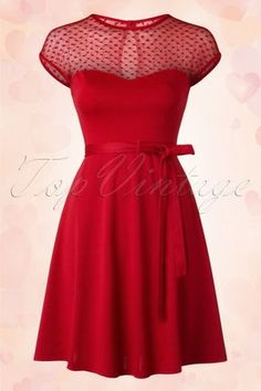 Steady Clothing 50s Madeline Hearts Only Swing Dress in Red