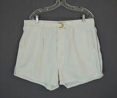 Men's Vintage 1940s White Cotton Catalina Swimsuit - 37 inch waist