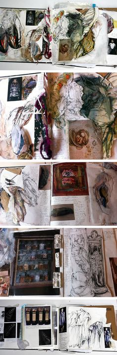 Fashion Textiles Sketchbook richly illustrated with mixed media obsevational paintings + design research, fabric interpretations and fashion design development