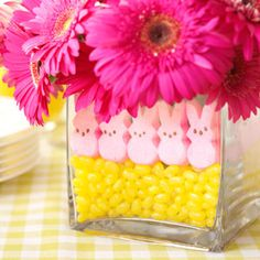 Easter ideas with peeps - check-out the chocolate cake on this page too.