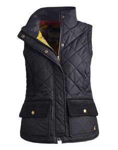 Joules null Womens Quilted Vest, Black.                     Up your country look with a Vest that's got more to it than meets the eye! It will give you a look of country chic in an instant.