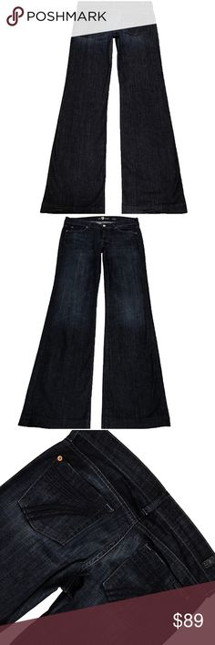 """7 For All Mankind """"Dojo"""" SZ 29 XL Inseam 35.5"""" (#207) Like New Lightly Worn A Super Cute Pair Of 7 For All Mankind """"Dojo"""" Women's SZ 29 Flare Leg Dark Blue Wash Blue Stitched 7 Low Stretch Jeans. No defects. Extra Long Inseam 35.5"""" Style# U115B380S Cut# 726035 Measurements: Waist: 31"""" Hips: 40"""" Front rise: 8"""" Back rise: 13"""" Inseam: 35.5"""" 7 For All Mankind Jeans Flare & Wide Leg"""