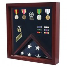 Military Flag And Medal Display Case   Shadow Box