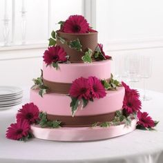 Order Pink and Brown Fondant Cake with Gerbera Daisies flower arrangement from The Flower Shed, your local Grand Forks, ND florist. Send Pink and Brown Fondant Cake with Gerbera Daisies floral arrangement throughout Grand Forks, ND and surrounding areas. Brown Wedding Cakes, Summer Wedding Cakes, Summer Weddings, Summer Cakes, Purple Wedding, Fall Wedding, Pavlova, Cupcakes, Cupcake Cakes