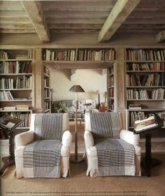 Library or reading room. Love ceiling to floor book shelves